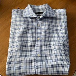 Hugo Boss sharp fit plaid dress shirt